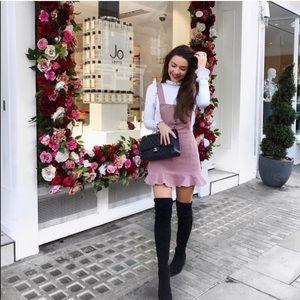 Dresses & Skirts - 🆕 Pink Corduroy Ruffle Mini Overall Dress